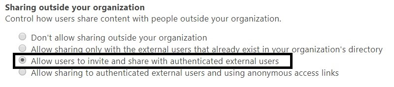 Manage external sharing