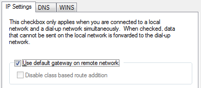 Use default gateway on remote network
