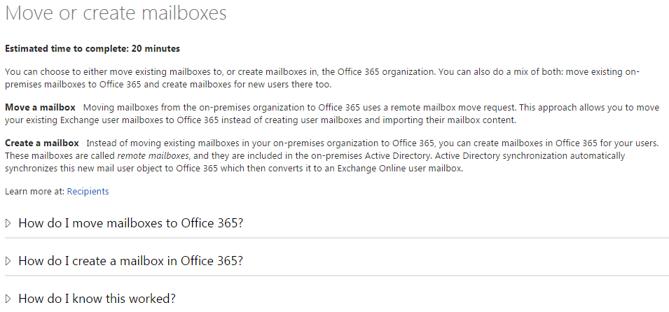 Move or create mailboxes