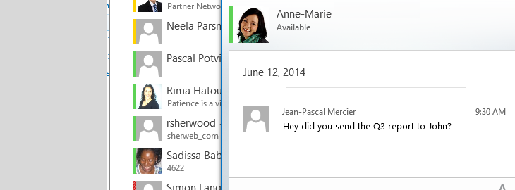 Lync 2013 Chat Window