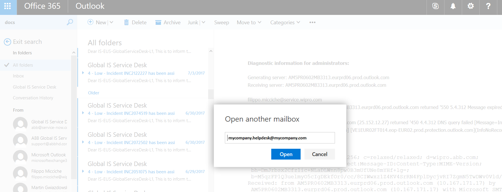 Insert the shared mailbox email address