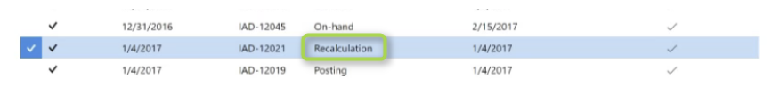 select the recalculation