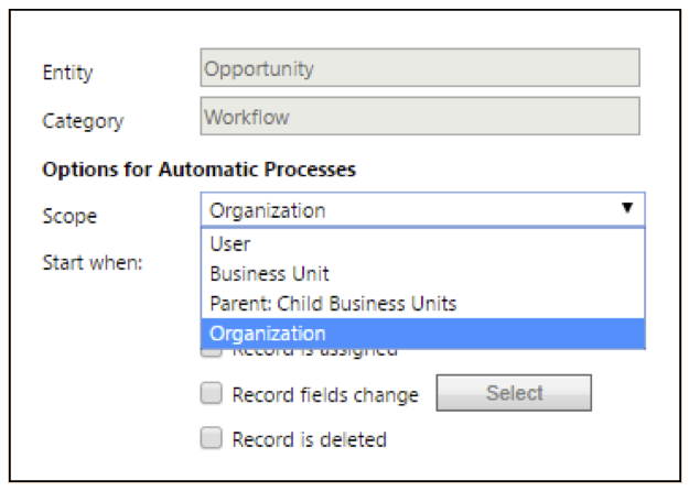 Options for automatic processes