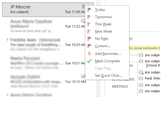 Flag an email as a task