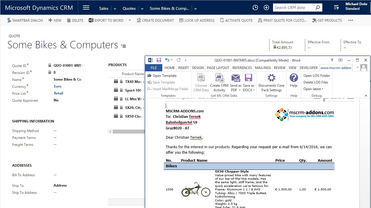 Dynamics 365 - Documents Core Pack - MS CRM Addons