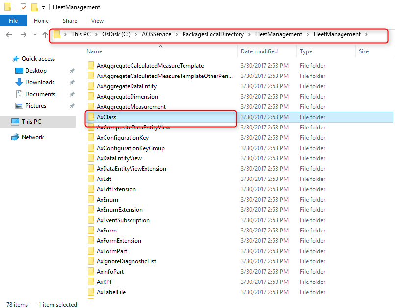 model folder in package folder dynamics 365 operations