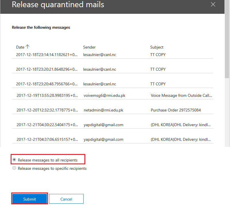 Exchange Online Protection: Quarantined Message Preview and Bulk Release Quarantine Email Image