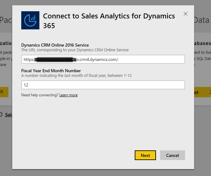 Connect to Sales Analytics for Dynamics 365
