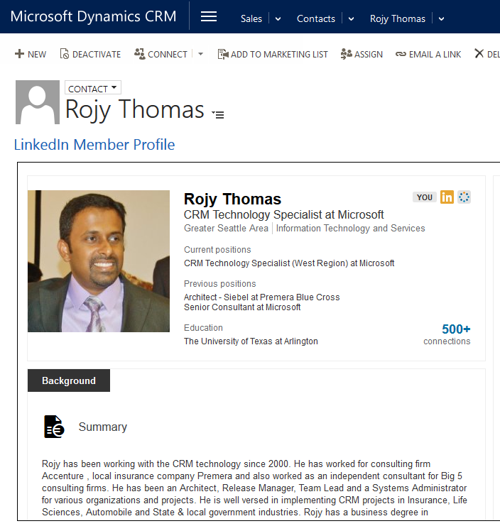 Microsoft Dynamics: Linkedin Member Profile