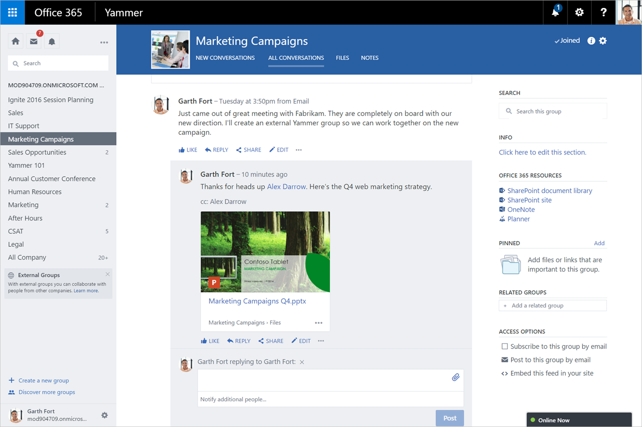 5 Office 365 Real Time Collaboration Features-Yammer