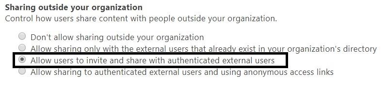 Manage external sharing