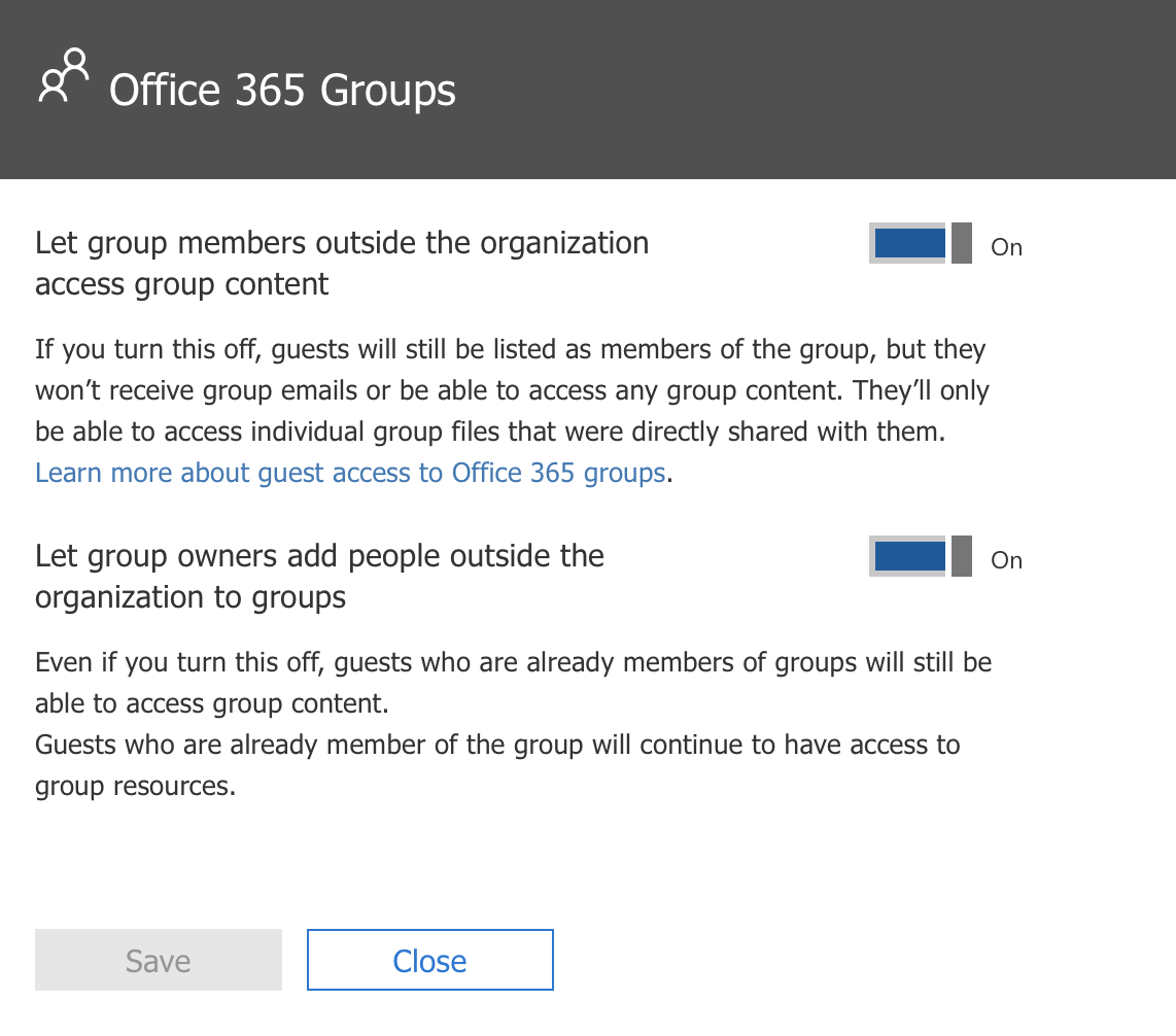Enable Guest Access for Office 365 Groups Step 2