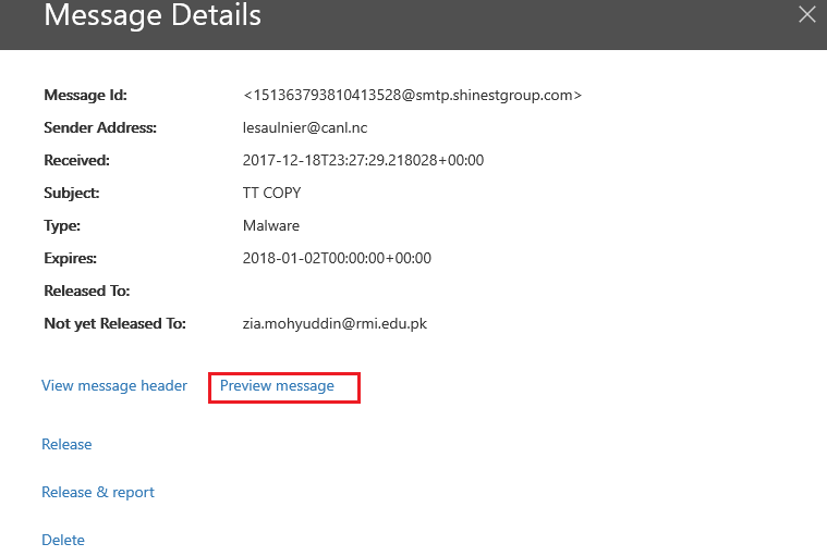 Exchange Online Protection: Quarantined Message Preview and Bulk Release Message details Image