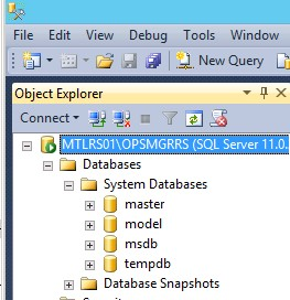 Expand Server, Databases and System Database