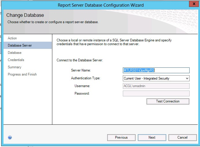 Report Database Configuration Wizard