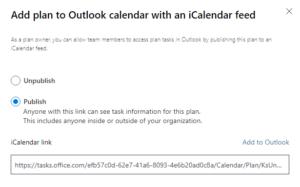 Add plan to outlook calendar