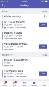 Microsoft Teams Mobile app.  Overview screenshots