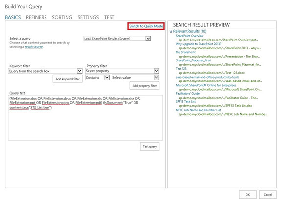 Building your Search query
