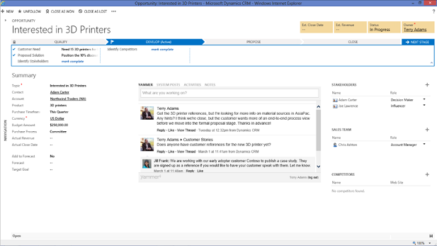 How crm online integrates with office 365 sherweb - Yammer office 365 integration ...