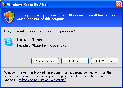 Windows Firewall asks to block Skype-click Unblock