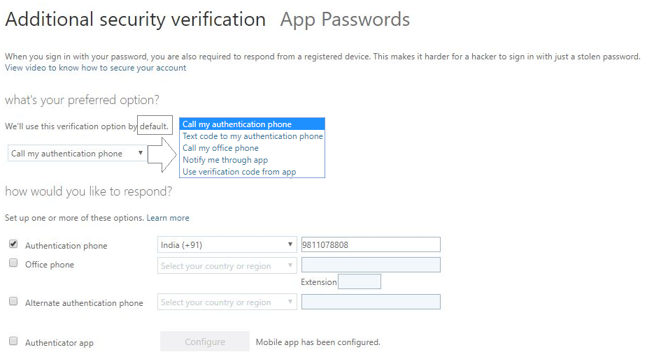 Changing your preferred device or multi-factor authentication option 3