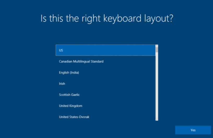 Windows AutoPilot: Keyboard setup image