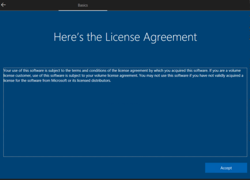 Windows AutoPilot: License agreement image