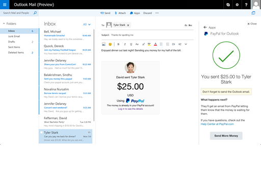 Office 365 Add-in: Paypal Outlook Email Image