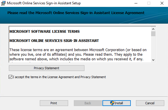 Microsoft Online Service Sign-in Assistant for IT Professionals