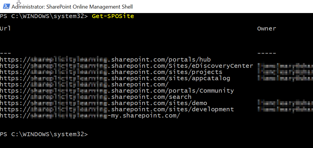 Retrieve SharePoint Sites