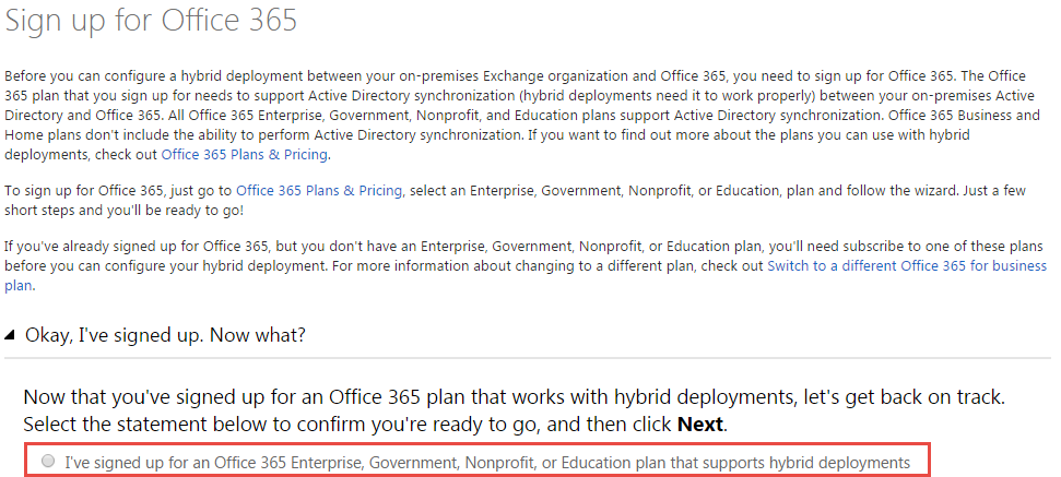 Sign up for Office 365