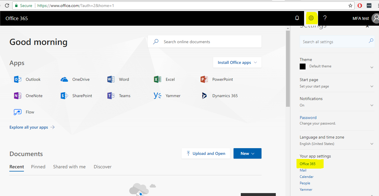 Multi-factor authentication Manually creating an app password from the Office 365 portal 1