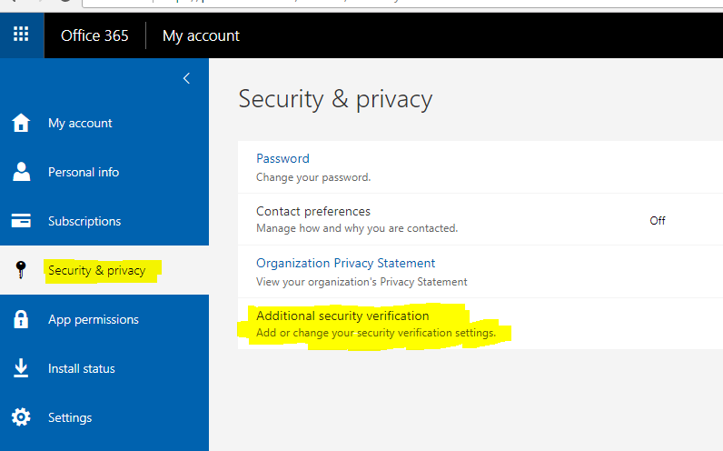Multi-factor authentication Manually creating an app password from the Office 365 portal 3