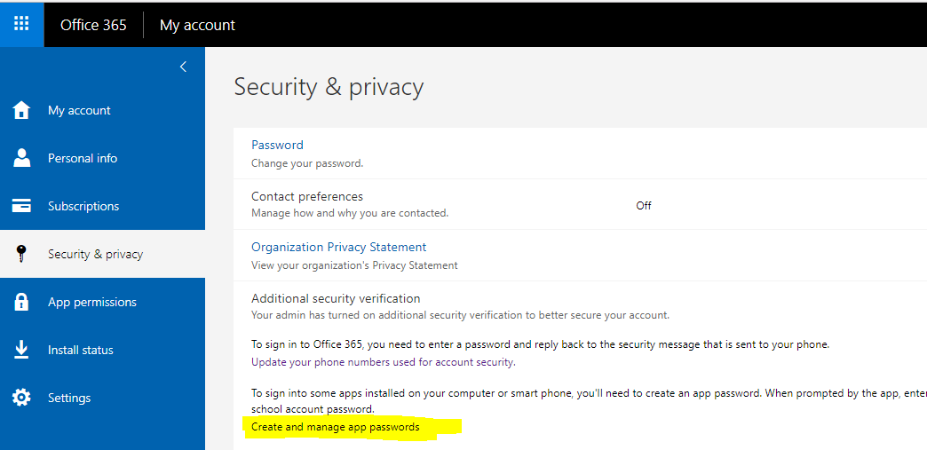 Multi-factor authentication manually creating an app password from the Office 365 portal 4