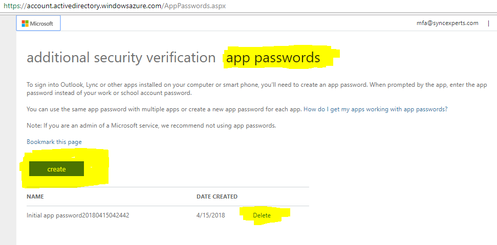 Multi-factor authentcation Manually creating an app password from the Office 365 portal 5