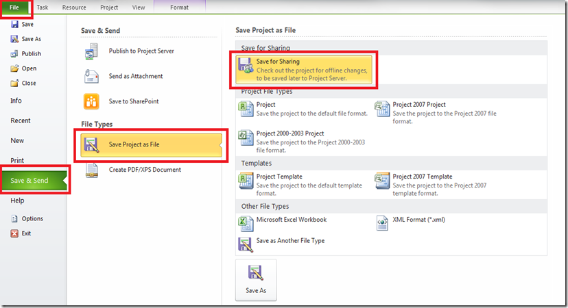 Microsoft Project Features File Sharing