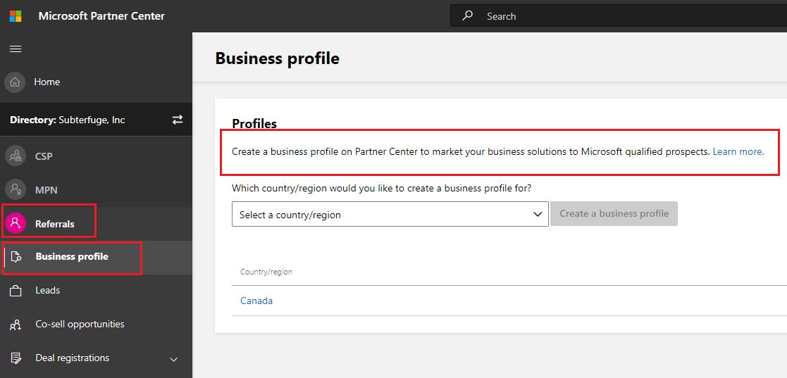Microsoft Partner Center Business profile