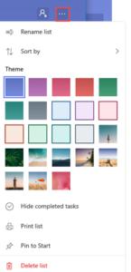 Microsoft To Do color theme