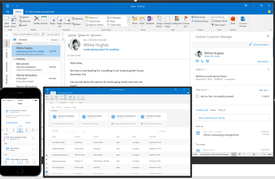 Office 365 Business Center: Track and grow customer relationships right within Outlook