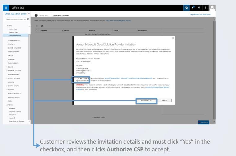 Office 365 CSP Authorization