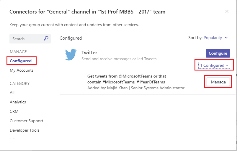 Office 365 Connectors for Microsoft Teams 12