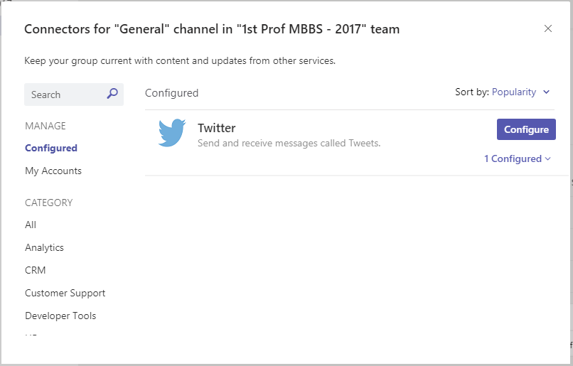 Office 365 Connectors for Microsoft Teams 8