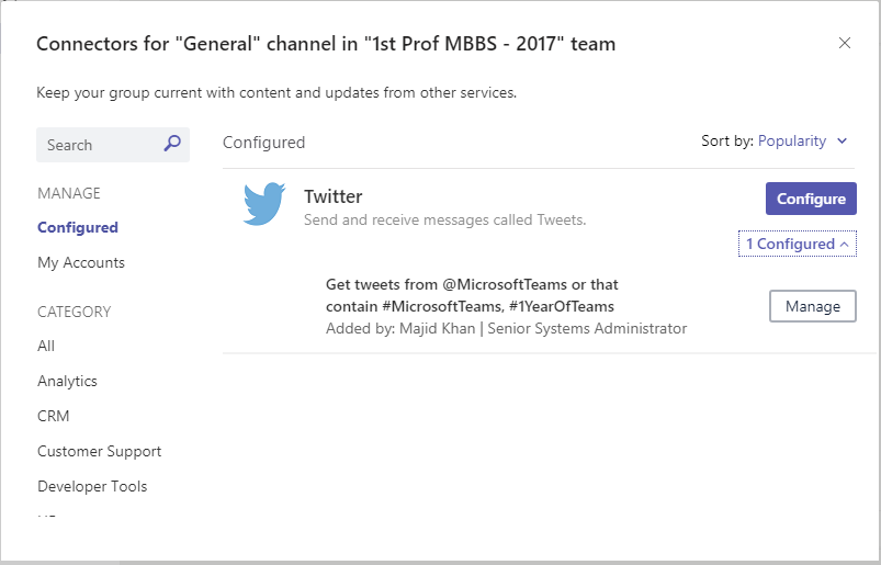 Office 365 Connectors for Microsoft Teams 9