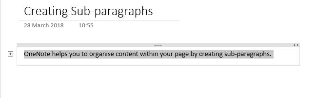 OneNote - Creating sub paragraphs image