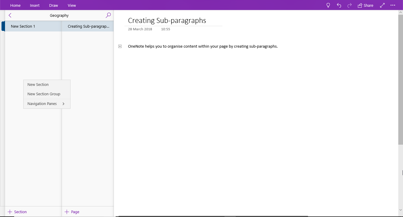 OneNote - Organizing content within a notebook image