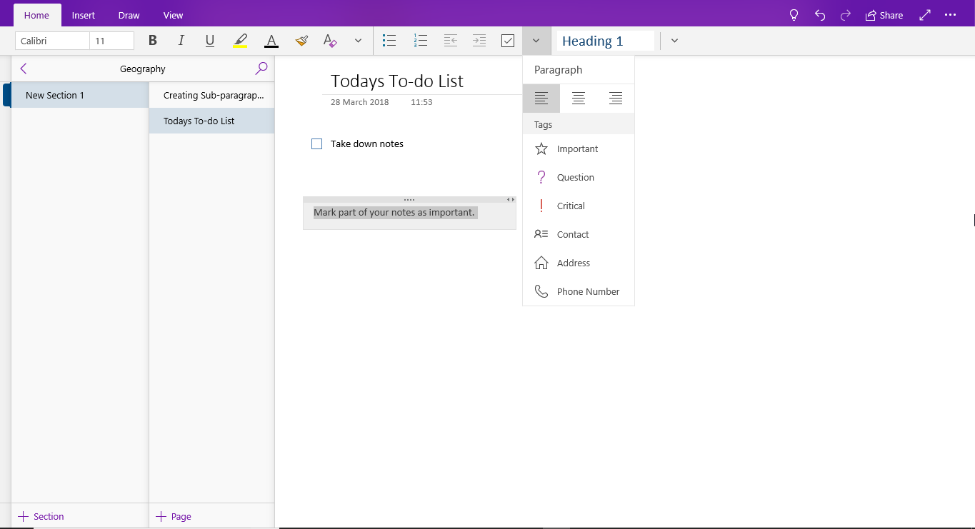 OneNote - Tagging notes for better visibility image