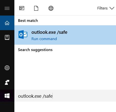 Outlook in safe mode