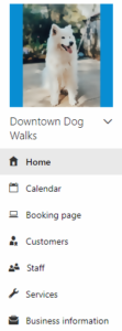 Microsoft Bookings Navigation Panel