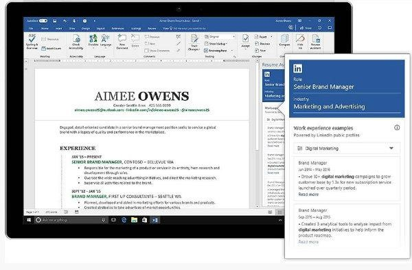 Office 365 and LinkedIn - Resume Assistant