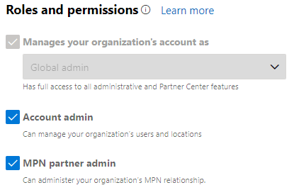 MPN ID Roles and Permissions